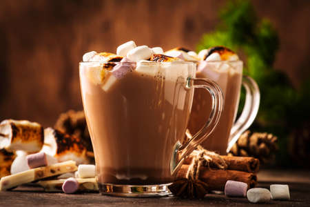 Hot cocoa or chocolate drink with marshmallow in glass mug and winter decoration on wooden table. Concept of cozy Christmas and New Year holidays, copy space