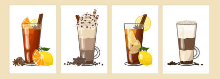 Various autumn winter hot drinks - lemon tea, rum punch, hot chocolate, latte coffee in tall glasses. Vector illustration of four cards Ilustracja