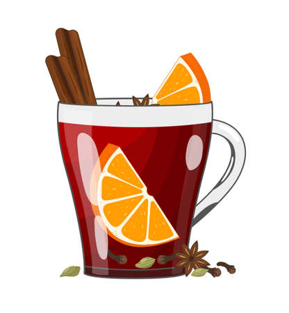 Red mulled wine with spices and fruits in glass cup, vector illustration in flat style. Traditional Christmas or NewYear warming drink on white background