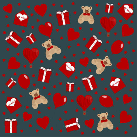 Happy Valentine's day love red elements set on blue background. Hearts, gifts, balloons, bears for mother's day, birthday, wedding. Vector illustration