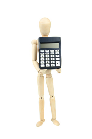 proportions of man: Wooden man hold calculator, isolated on white Stock Photo