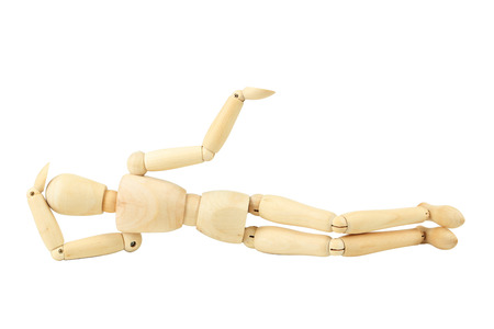 proportions of man: Wooden figure resting isolated on white