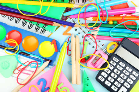 school band: Full background of school supplies Stock Photo