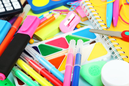 Full background of school supplies photo