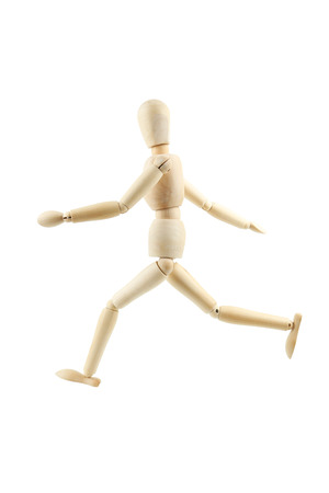 proportions of man: Wooden figure isolated on white Stock Photo