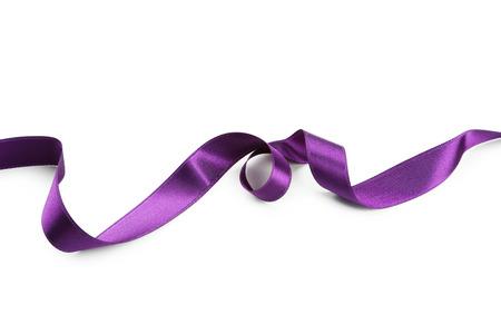 Purple ribbon on white background