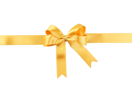 silk bow: Golden bow on white background