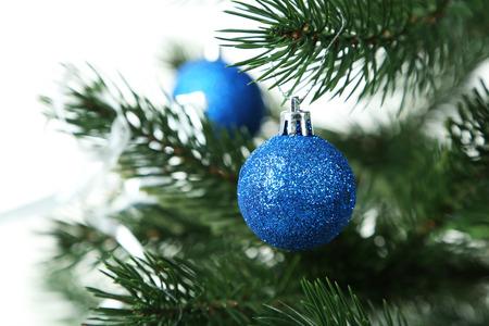 plastic christmas tree: Decorated christmas tree on white background