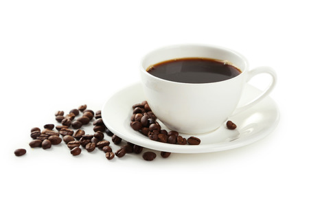 brown white: Cup of coffee with coffee beans isolated on white