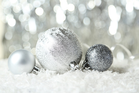 christmas ornamentation: Christmas balls on lights background Stock Photo