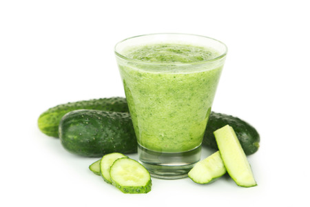 juice fresh vegetables: Glass of cucumber juice isolated on white