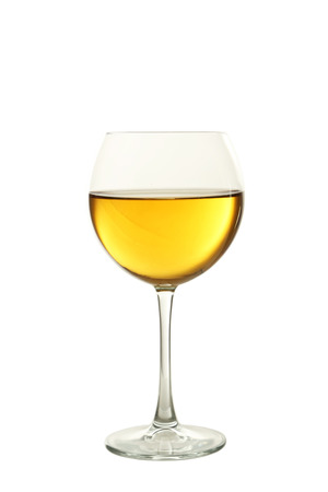 white wine glass: White wine glass isolated on white Stock Photo