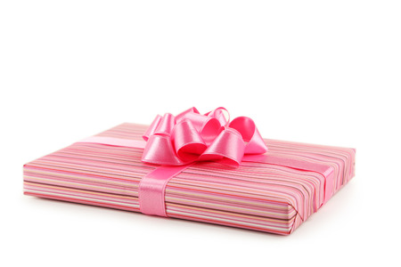 pink bow: Gift box with pink bow isolated on white Stock Photo