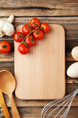chopping board: Board for menu on brown wooden background
