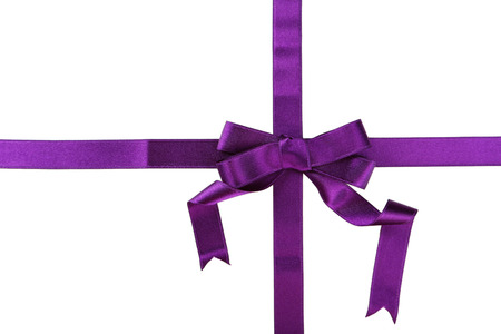 purple ribbon: Purple ribbon with bow on white background