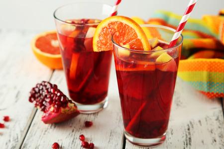 summer drink: Glasses of sandria on white wooden background