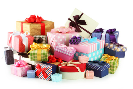 Beautiful gift boxes isolated on white