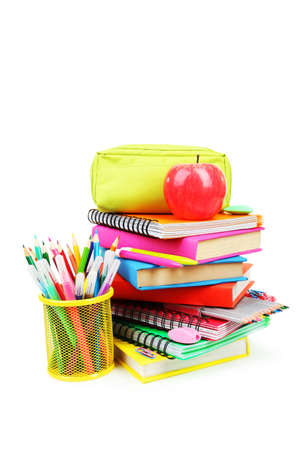 fournitures scolaires: Fournitures scolaires isol� sur blanc
