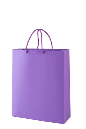 gift bags: Purple shopping bag isolated on white Stock Photo