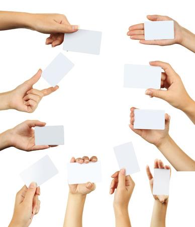 Hand holding a business card Standard-Bild
