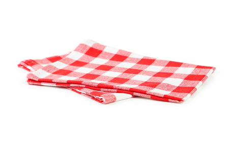 fold: Red napkin isolated on white