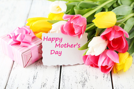 Beautiful tulips on white wooden background photo