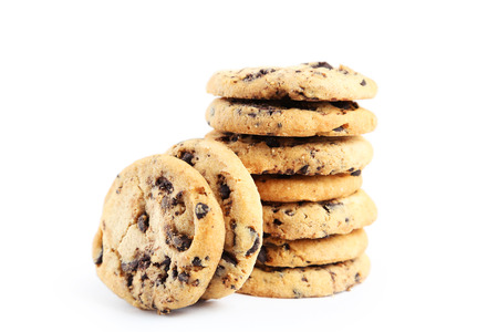 morsels: Chocolate chip cookies isolated on a white