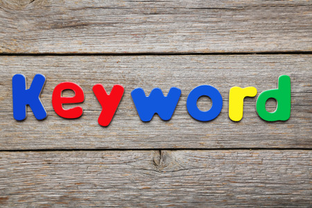 keyword: Keyword word made of colorful magnets Stock Photo