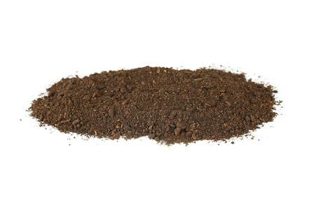humus soil: Pile of soil isolated on white