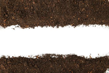 Soil on white background Stock Photo