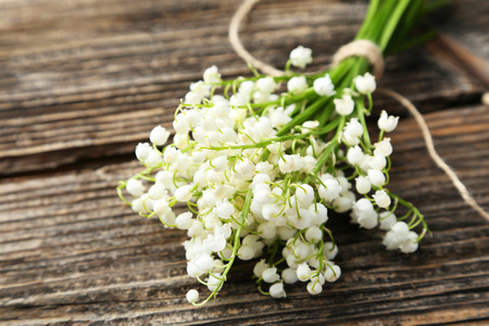 wild botany: Lily of the Valley on brown wooden background