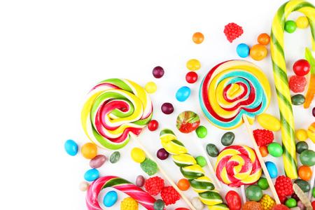 Different fruit candies on white background Standard-Bild