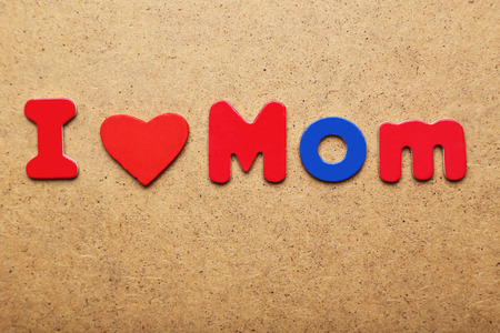 I love mom words made of colorful magnets Stock Photo