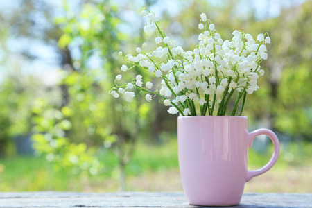 mayflower: Lily of the Valley in cup on grey wooden background, outdoors