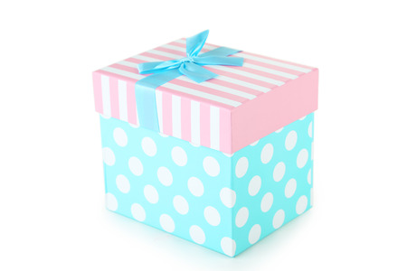 birthday presents: Beautiful gift box isolated on white