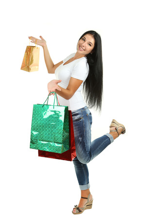 after shopping: Young Beautiful girl after shopping