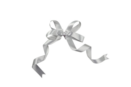 Silver bow isolated on white
