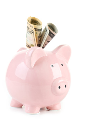 Pink piggy bank with dollars isolated on a white