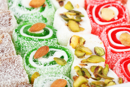 Tasty turkish delight background, close up Banco de Imagens