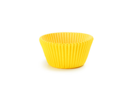 yellow paper: Yellow empty cupcake case isolated on white Stock Photo