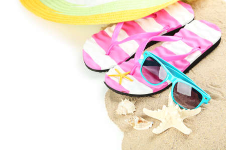 white sand beach: Beach accessories on white background Stock Photo
