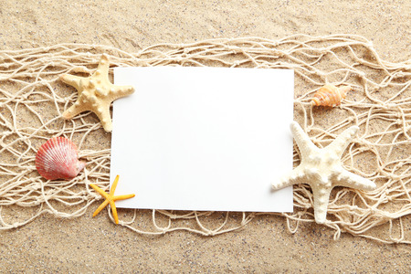 shell: Empty blank of sheet paper on beach sand with sea shells