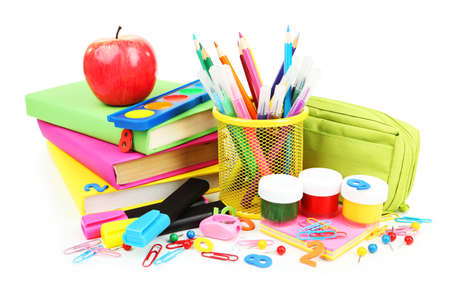 material escolar: Los útiles escolares aislados en blanco