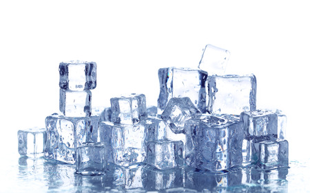 ice crystal: Ice cubes isolated on white Stock Photo