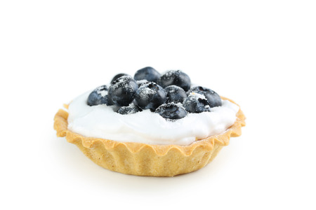 tartlet: Dessert tartlet with blueberries isolated on white