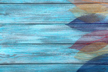 slight: Skeleton leafs on blue wooden background Stock Photo