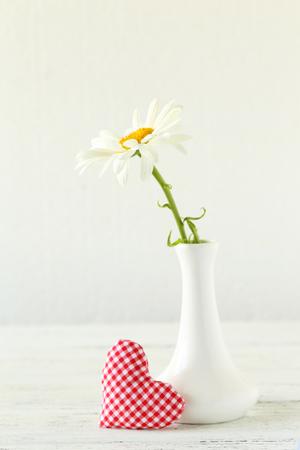 chamomile flower: Chamomile flower in vase on a white wooden background