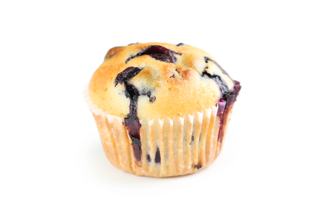 blueberry muffin: Tasty blueberry muffin isolated on a white