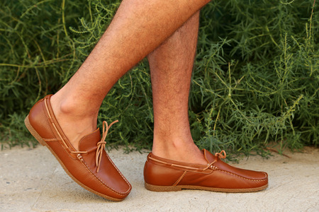 moccasins: Fashion leather and brown moccasins shoes