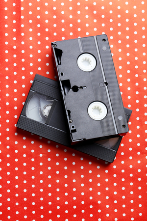videocassette: Videocassette on the red background